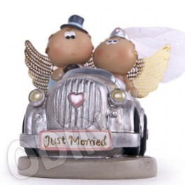 "Angelitos Boda ""Just Married"" Angel Cheeks ""en coche"""
